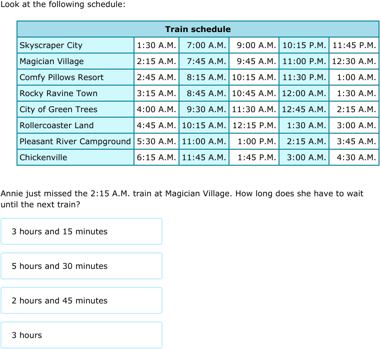 IXL - Transportation schedules (Year 4 maths practice)